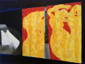 Marcia Santore, Inside Mothers Are Dancing, oil paint on canvas, 36 x 48 inches